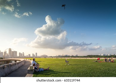 Singapore - 2016: The Marina Barrage not only supplies water to Singaporeans and helps alleviate floods, but also doubles up as a place for family fun.
