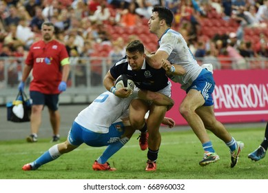 Singapore, 2017 June 10 : Player of Scotland (blue) run with the ball during Official International Test Match between Italy and Scotland