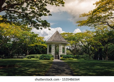Singapore, 2019 July 7 : A bandstand at Singapore Botanic Gardens that was built in 1860s.