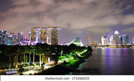 Singapore - 2019-11-17: Night view of the cityscape near Marina Bay.