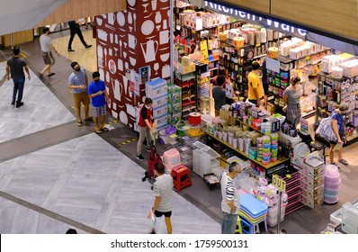 Singapore 2020Jun19 Covid-19 Phase 2 re-opening day. Shoppers queueing waiting for their turn to visit a retail store due to limited entry; social distancing, safe entry measures, post-circuit breaker