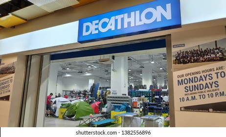 SINGAPORE- 21 APR, 2019: Logo and sign of Decathlon shop at Singapore. Decathlon S.A. is a French sporting goods retailer