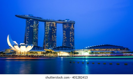 Singapore - 21 September 2015: The Beautiful Marina Bay Sands Casino Hotel at night.