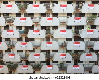 Singapore, 22 July 2017: Every year of Singapore National Day, residents of Selegie Road Block 9 will show their patriotism by displaying Singapore Flags at their block which create a stunning view.