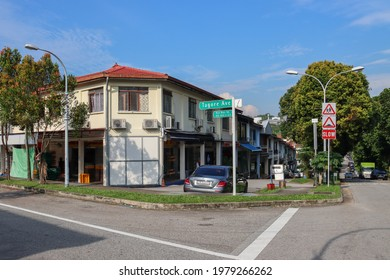 SINGAPORE - 22 MAY 2021. The shophouses of the 256-terrace-house Teacher's Housing Estate which, at 54 years old is one of the oldest housing estates. Now, a bakery and confectionery shop is active.