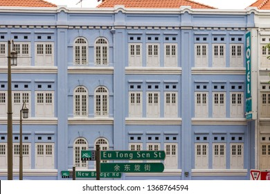 Singapore - 22nd November 2016: Hotel 81 in restored Chinese heritage building, New Bridge Road, Chinatown. The hotel belomgs to a chain of 24 hotels in Singapore