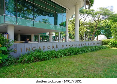SINGAPORE -23 AUG 2019- View of the Singapore Management University (SMU), a business school funded by the national government of Singapore, home to more than 8000 students.