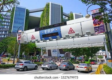 SINGAPORE -23 AUG 2019- View of an Electronic Road Pricing (ERP) toll on the street in Singapore. Singapore has an extensive management of transport infrastructure congestion.