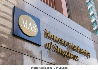 SINGAPORE - 23 DECEMBER, 2017: Monetary Authority of Singapore (MAS) logo signage on the building at entrance.