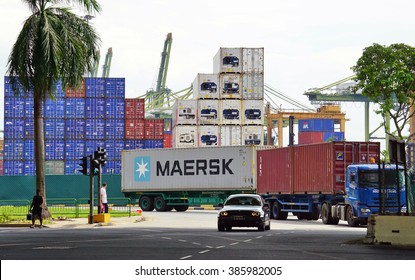 SINGAPORE -23 JAN 2016- The Port of Singapore Authority (PSA) manages busy cargo container traffic at the port of Singapore.