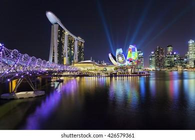 Singapore - 23 March 2014, iLight Marina Bay event featuring different light show around Marina Bay Sands