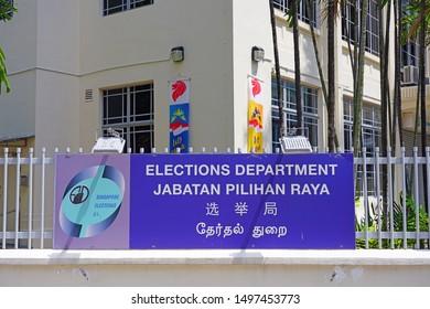 SINGAPORE -24 AUG 2019- View of the Elections Department building (Jabatan Pilihan Raya) of the Republic of Singapore.