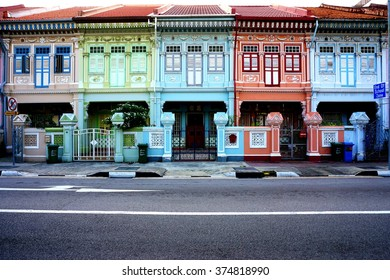 SINGAPORE -24 JANUARY 2016- Colorful old pre-war Peranakan terrace houses on Koon Seng Road in Singapore.