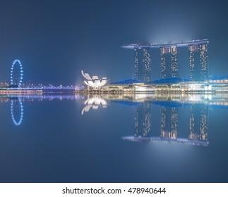 singapore 24-10-2015 : singapore city lighting at night.