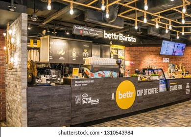 Singapore - 24th December 2018: The Bettr Barista coffee shop in Singapura shopping mall. There are many coffee shops in the city.