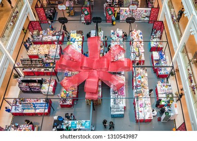 Singapore - 24th December 2018: Indoor Christmas market in Singapura shopping mall. Christmas is a busy time for the malls.