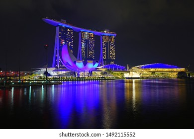 SINGAPORE -25 AUG 2019- Night view of the Marina Bay Sands resort on the bay front in Singapore, the most expensive casino property in the world.