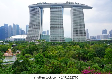 SINGAPORE -25 AUG 2019- View of the Marina Bay Sands resort on the bay front in Singapore, the most expensive casino property in the world.