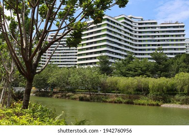SINGAPORE - 25 MAR 2021. Punggol HDB apartments near the Waterpoint Shopping Mall are newer developments planned with waterfront recreational activities and food and beverage joints.