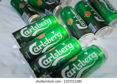 SINGAPORE- 26 MAY 2018:Carlsberg beer can On White Background. The Carlsberg Group is a Danish brewing company founded in 1847.