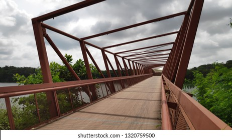 SINGAPORE- 27 JAN, 2019: Lorong Halus Bridge in Singapore. The Lorong Halus Bridge connects Lorong Halus Wetland and Punggol Waterway