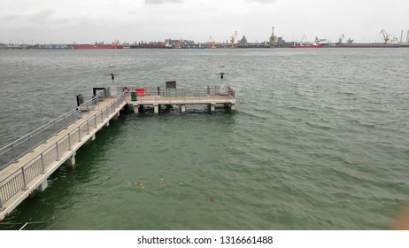SINGAPORE- 27 JAN, 2019: Punggol jetty in Singapore. Punggol Jetty is a considerably short and small jetty where you can fish