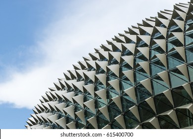 SINGAPORE 27 MARCH 2017 : Architectural roof detail of Esplanade Theatres on the Bay in Singapore with blue sky background.
