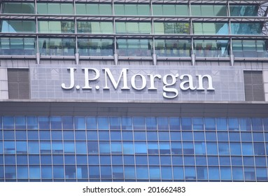 SINGAPORE - 27 May, 2014: JP Morgan company logo. JPMorgan is an American multinational banking and financial services holding company and the largest bank in the USA.