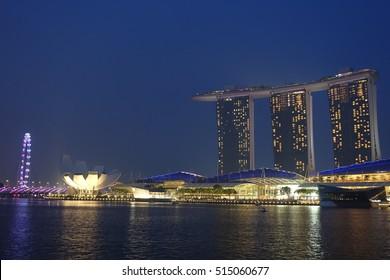 SINGAPORE - 28 AUG: Skyline in Singapore on 28 August 2016