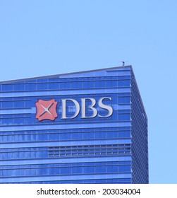 SINGAPORE - 28 May, 2014: DBS Bank company logo. DBS bank was set up by Government of Singapore and is the largest bank in Southeast Asia.