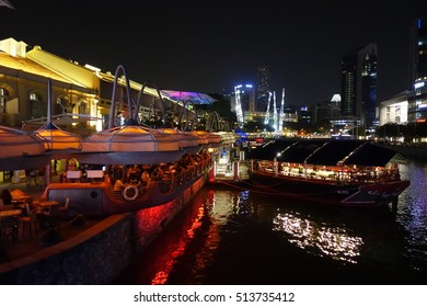 SINGAPORE - 29 AUG: Clarke Quay in Singapore on 29 August 2016