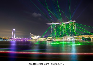 SINGAPORE -29 August 2016: The most beautiful laser show at Marina Bay, where is the most popular water bay front, in Singapore.