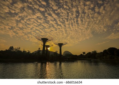 Singapore, 29 July 2017: Gardens by the Bay in Singapore is popular with tourists and locals.  Climate controlled domes, Super Trees, lakes and other attractions keep visitors entertained