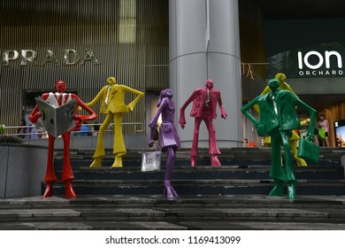 SINGAPORE - 29 June 2018 – Colorful Urban Style Mannequins Display in front of ION Orchard shopping mall on Orchard Road