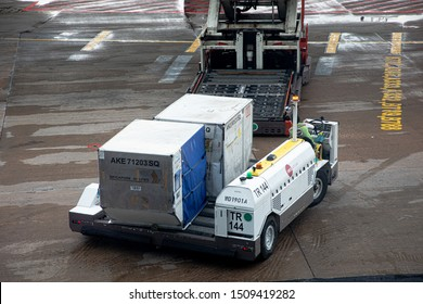 Singapore - 29 June 2019: A container transporter for aircraft cargo Unit Load Devices at Singapore Interantional Airport