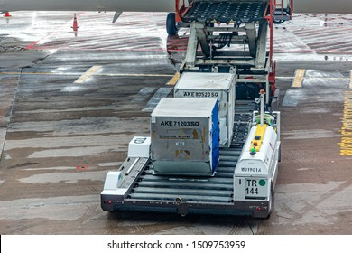 Singapore - 29 June 2019: A container transporter for aircraft cargo Unit Load Devices at Singapore International Airport