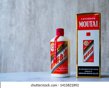 SINGAPORE, 29 MARCH 2019 - A bottle of Maotai baijiu liqour alongside the original packaging. Maotai is a famous Chinese liqour of cultural significance from Guizhou, China
