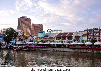Singapore, 2nd, October, 2015. Clarke Quay in the daytime. It's a historical riverside quay in Singapore. The quay is situated upstream from the mouth of the Singapore River and Boat Quay.
