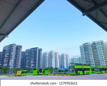 Singapore, 31 August 2018 - Distance view of Punggol temporary bus interchange at Punggol Central, located adjacent to the Punggol MRT/LRT Station. Go-Ahead Singapore is the anchor operator.