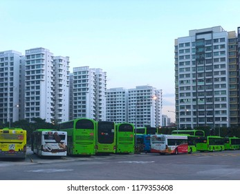 Singapore, 31 August 2018 - Punggol temporary bus interchange at Punggol Central, located adjacent to the Punggol MRT/LRT Station. Go-Ahead Singapore is the anchor operator of this interchange.
