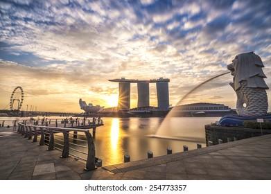 Singapore, 31 January 2015, Sunrise in the morning at Merlion, Marina Bay, Singapore