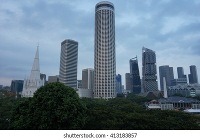 SINGAPORE -31 MARCH 2016- View of the downtown Singapore skyline taken from the National Gallery of Singapore art museum at twilight.