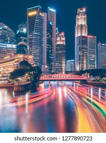 Singapore 4th Jan 2019 - Central Business District and the mouth of Singapore river with light trails from bum boats.