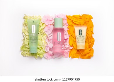 Singapore - 6th July 2018 - Clinique - facial soap, clarifying lotion and moisturising gel studio flat-lay photo.