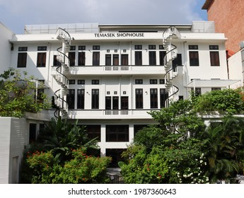 SINGAPORE - 8 JUN 2021: Temasek Shophouse, located in downtown is a place where business and community, enterprise and philanthropy, hardware and heartware all come together under one roof.
