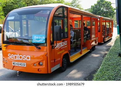 SINGAPORE - 9 JUN 2021. The Sentosa Beach Shuttle provides FREE travel within the island. This freebie aims to increase local tourism as the Covid-19 pandemic has stopped international tourism.