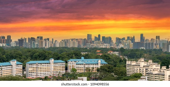 Singapore apartment housing estate with downtown city skyline view during sunset panorama