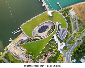 Singapore - Apr 05 2018: Top down morning scene at Marina Barrage. It is Singapore's 15th reservoir and the first in the heart of the city.