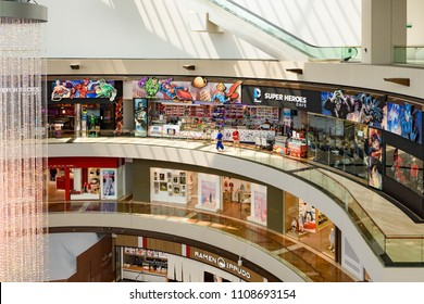 SINGAPORE, SINGAPORE - APR 07, 2018: Interiors of Marina Bay Sands resort shopping mall
