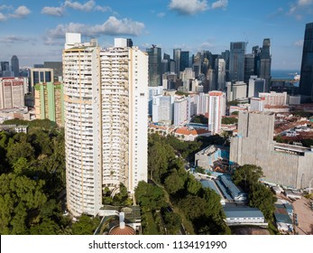 SINGAPORE - Apr 08 2018: View of Pearl Bank Apartments housing project in Outram, near the Chinatown of Singapore.